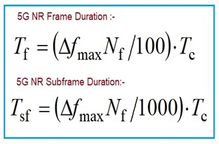 5G NR Frame duration and Subframe duration