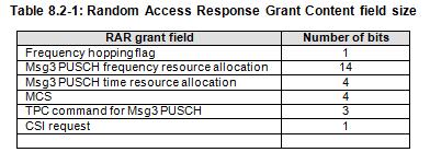 5G NR Random Access Response Grant Fields