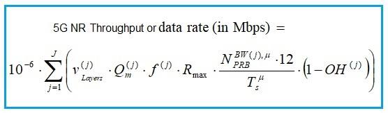 5G NR throughput formula