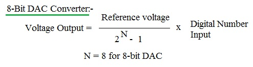 8 bit DAC conversion formula,equation