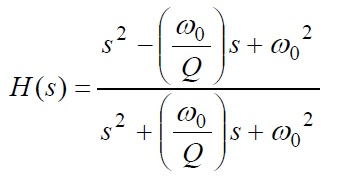 All Pass Filter Transfer Function