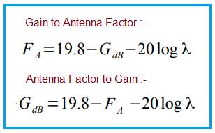 Antenna Factor vs Gain Conversion formula