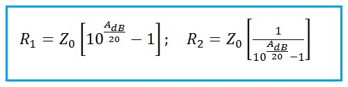 Bridged Tee Attenuator calculator Formula