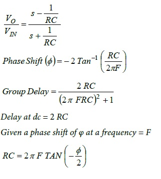 First Order APF Design Equations