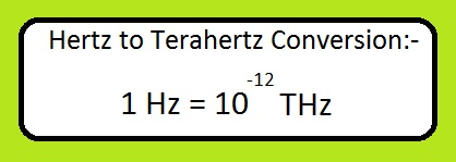 Hz to THz converter equation