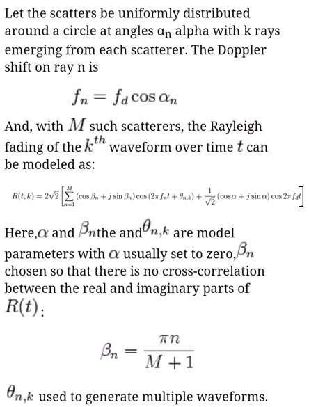 Jakes model formula or equation-1