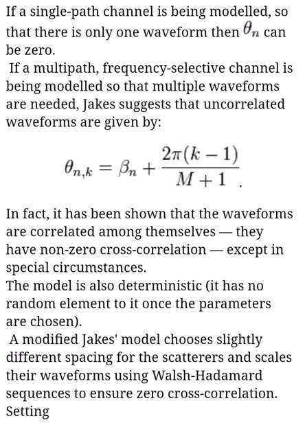 Jakes model formula or equation-2