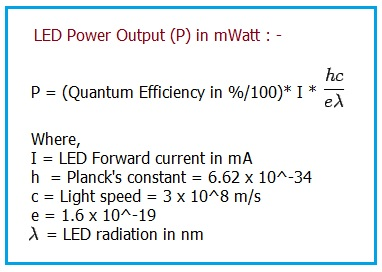 LED Internal Quantum Efficiency and Power Output Equation