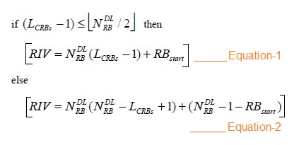 LTE RB to RIV conversion formula