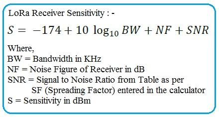 LoRa Sensitivity Calculator | LoRa Sensitivity Formula