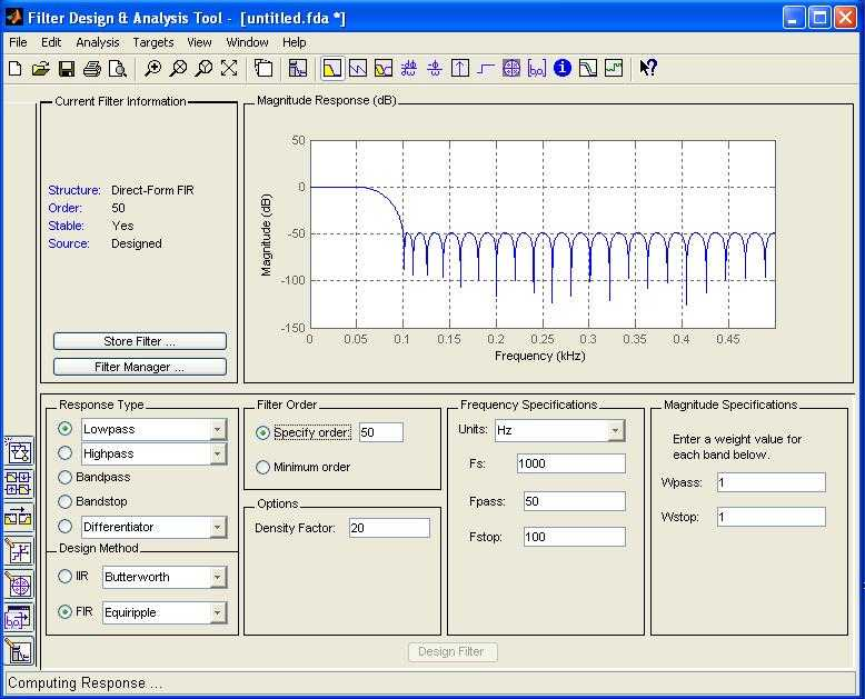 Low pass filter coefficient using FDA tool