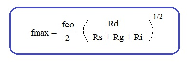 MESFET maximum frequency formula or equation
