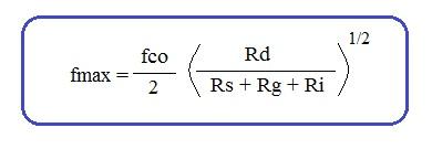 MESFET maximum frequency formula or equation