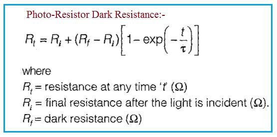 Photo-Resistor Dark Resistance