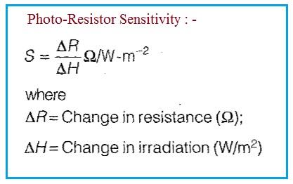 Photoresistor Sensitivity formula