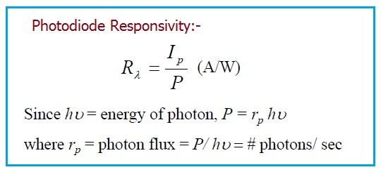 Photodiode Responsivity equation,Photodiode Responsivity formula