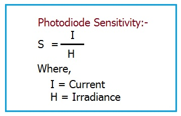 Photodiode sensitivity equation,Photodiode sensitivity formula