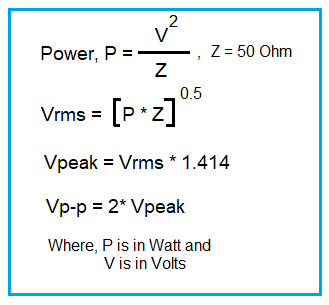 Power to Vrms,Vpeak,conversion formula