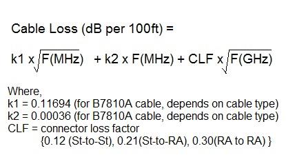 rf cable loss formula
