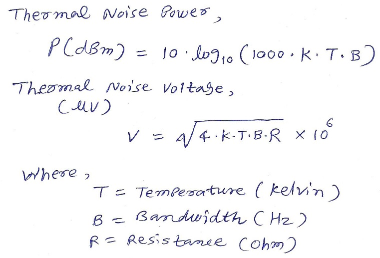 Thermal Noise Power And Voltage Calculator Equation