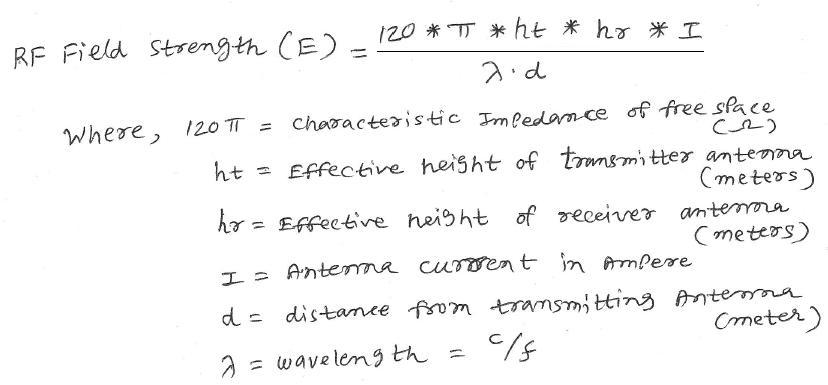 RF field strength calculator equation