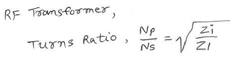 RF Transformer equation for calculator
