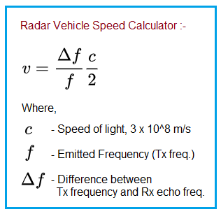 Radar vehicle speed calculator formula