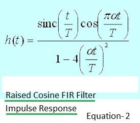 Raised Cosine FIR Filter Impulse Response