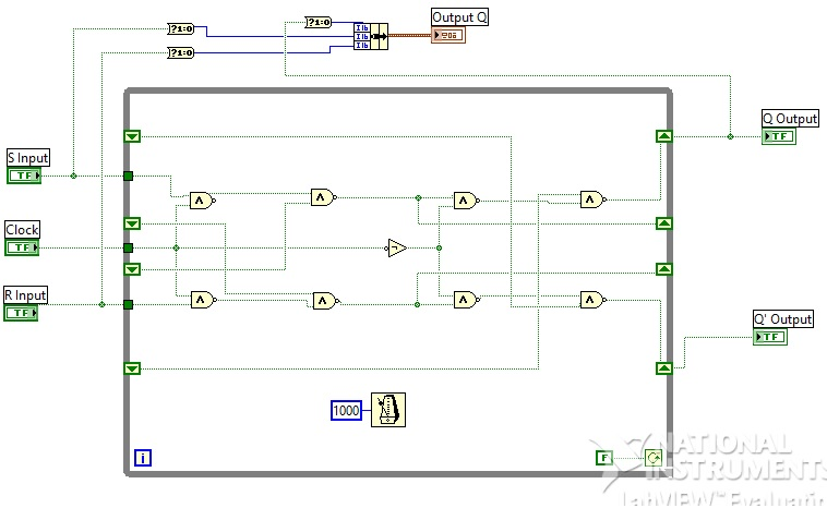 SR flipflop labview vi block diagram