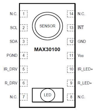 SpO2 sensor pin diagram MAX30100