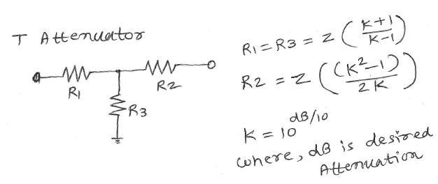 T attenuator calculator formula