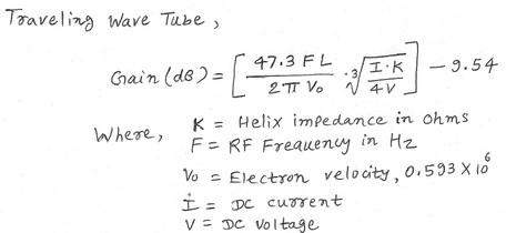 Traveling Wave Tube (TWT) Gain equation
