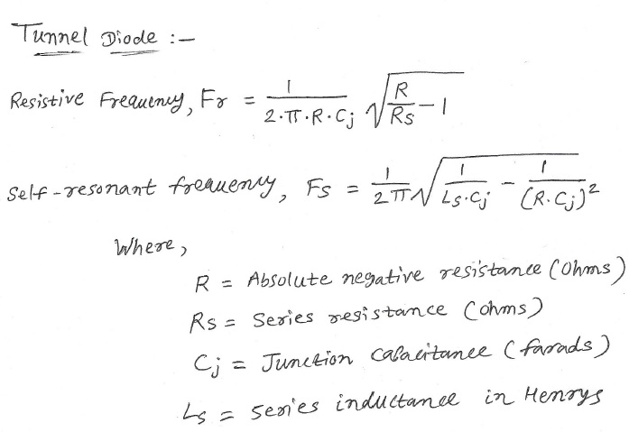 Tunnel diode calculator equation