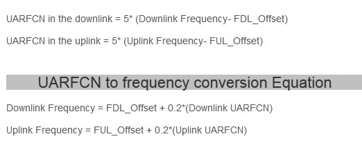 UMTS UARFCN to frequency conversion formula