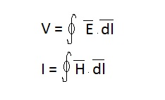 V,I equation in terms of E and H