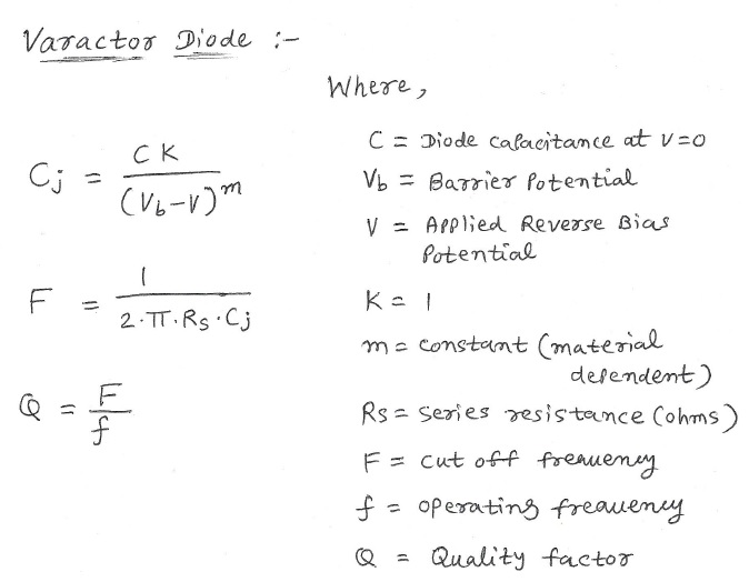Varactor diode calculator equation