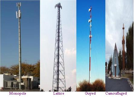 cell phone tower types used as DAS, Distributed Antenna System