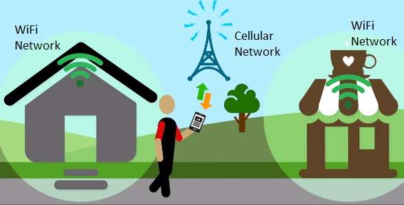 cellular data network and wifi data network