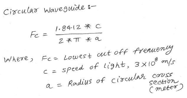 circular waveguide cutoff frequency