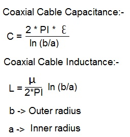 coaxial cable capacitance inductance equation
