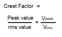 crest factor formula,equation
