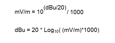 dBu to mV/m conversion Equation