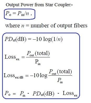 fiber star coupler equation or formula