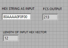 Frame Check Sequence labview vi front panel