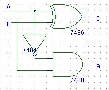 half substractor schematic