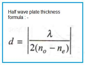 Half wave plate,Quarter Wave plate Thickness Calculator,Formula