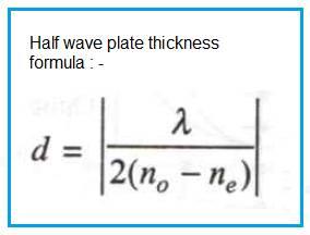 half wave plate thickness formula
