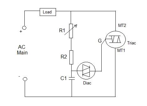 lamp dimmer using diac and triac