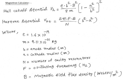 Magnetron calculator equation