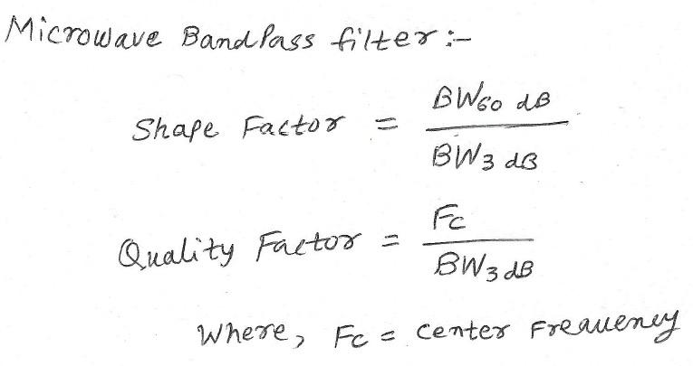 microwave BPF calculator equation